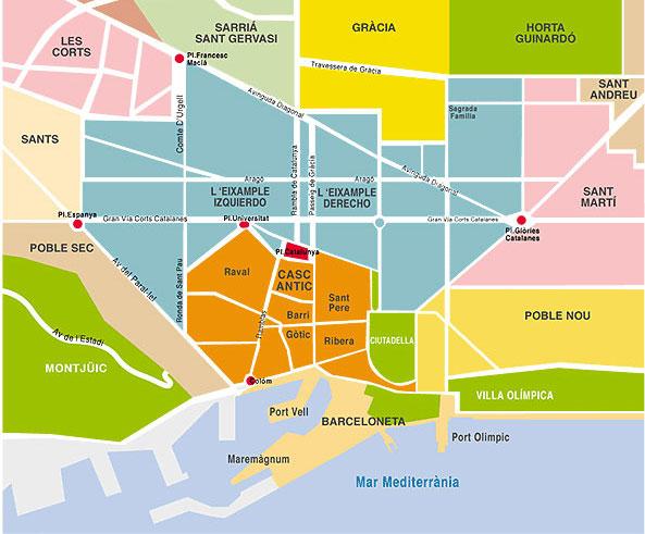 Carte Eixample Barcelone.Guide Prive Barcelone Carte Des Quartiers De Barcelone